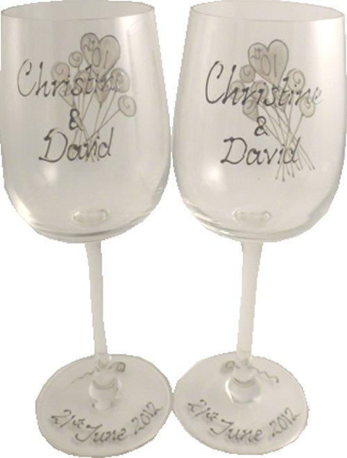 Personalized Wine Glasses Example Flower