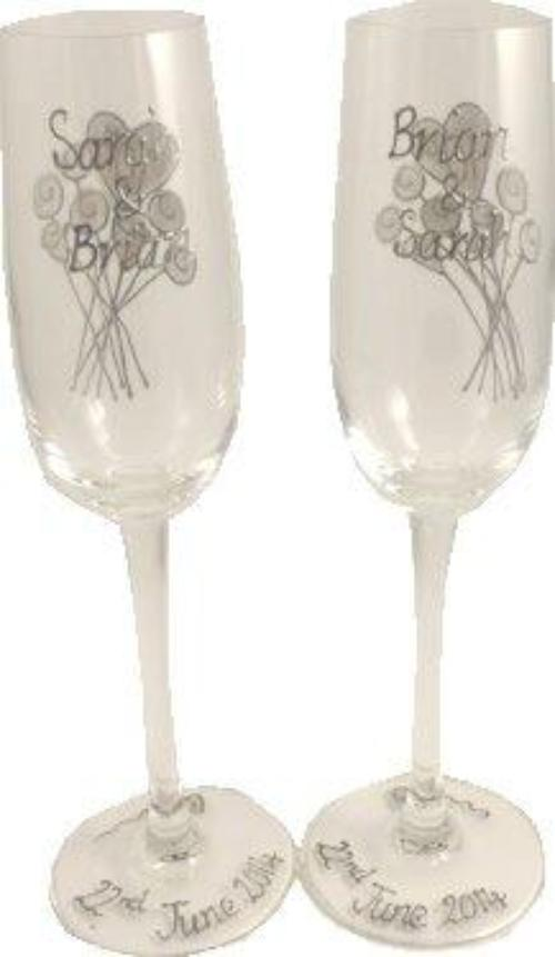 Personalised 10th Wedding Anniversary Champagne Glasses Flower