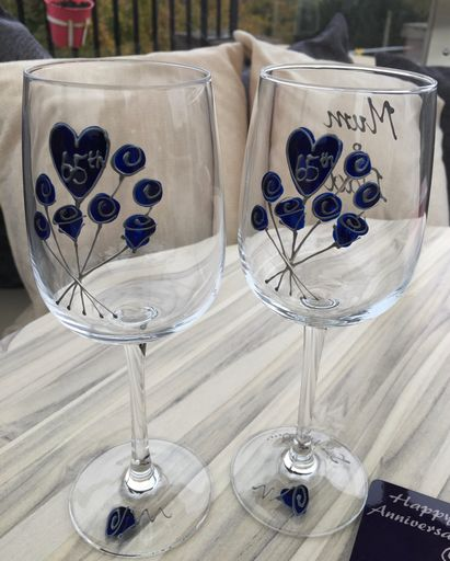 65th Wedding Anniversary Wine Glasses Flower