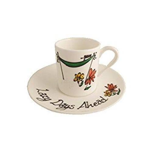 Retirement Gift Fine Bone China Espresso Cup and Saucer