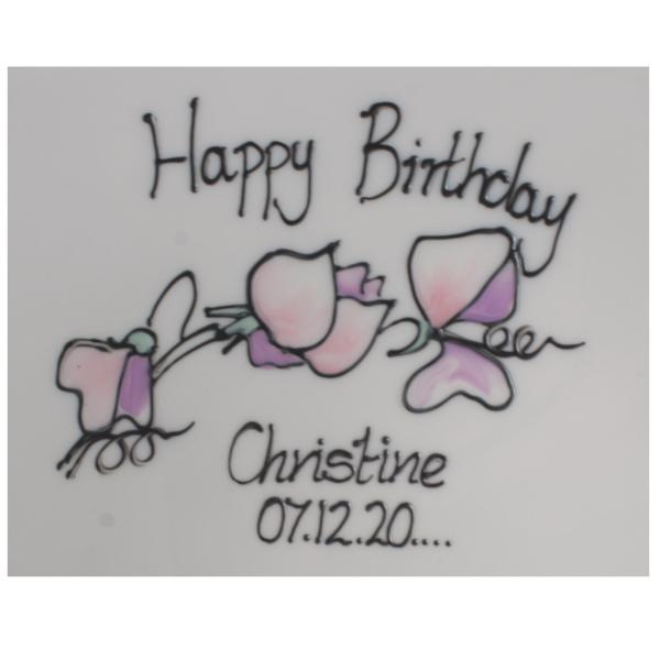 Personalised Birthday Square Plate Sweet Pea
