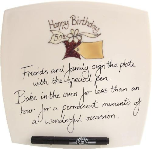 50th Birthday Gift Square Plate Box