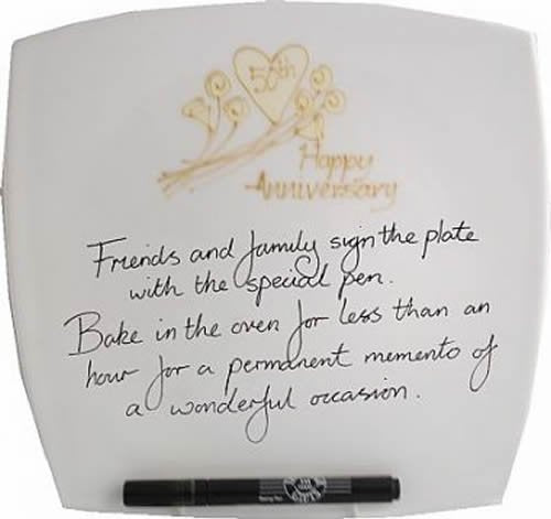 50th Wedding Anniversary Plate Square Flower