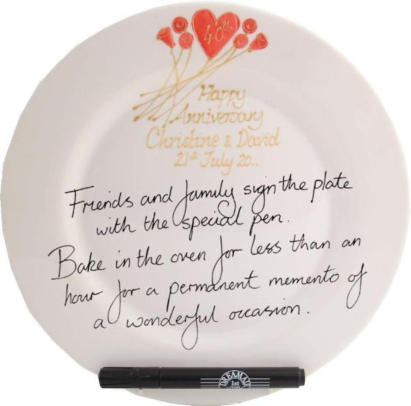 Personalised 40th Wedding Anniversary Plate Round Flower