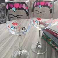 Frida Kahlo Luxury Wine Glass: with Crystals (Face) x 2