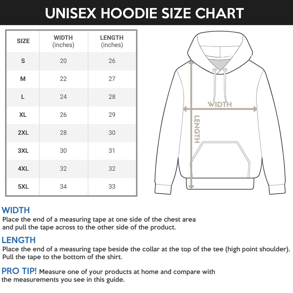 Unisex Hoodie Size Chart