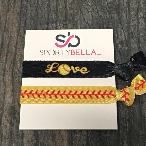 Softball Love Hair Ties - 2pc - Sportybella
