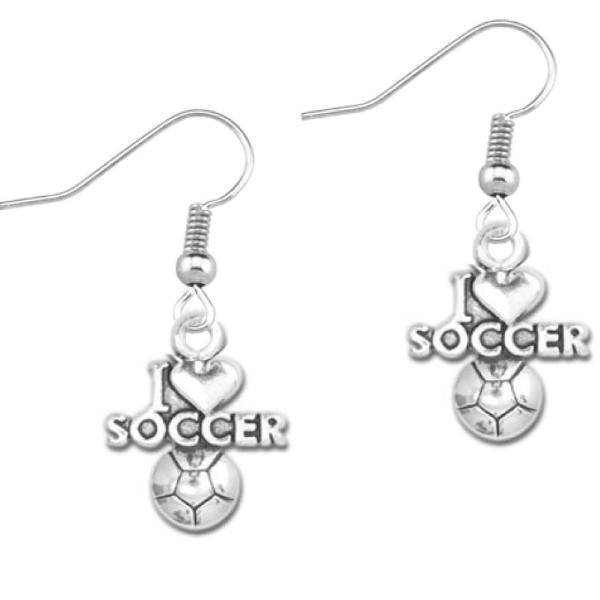 I Love Soccer Earrings - Sportybella