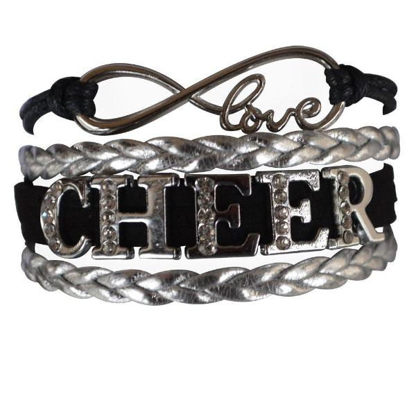 Girls Black Cheer Rhinestone Bracelet - Sportybella