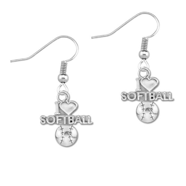I Love Softball Earrings - Sportybella