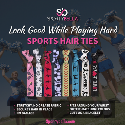 Custom Softball Hair Ties - 2pc with Number Charm - Sportybella