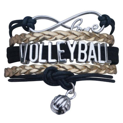 Volleyball Infinity Bracelet-Black/ Gold - Sportybella