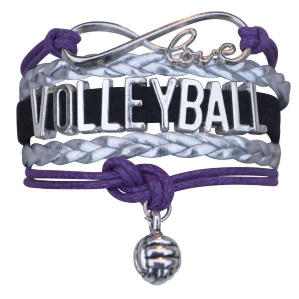 Volleyball Infinity Bracelet- Purple - Sportybella