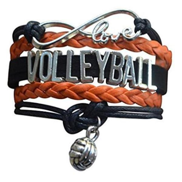 Girls Volleyball Infinity Bracelet - Orange - Sportybella