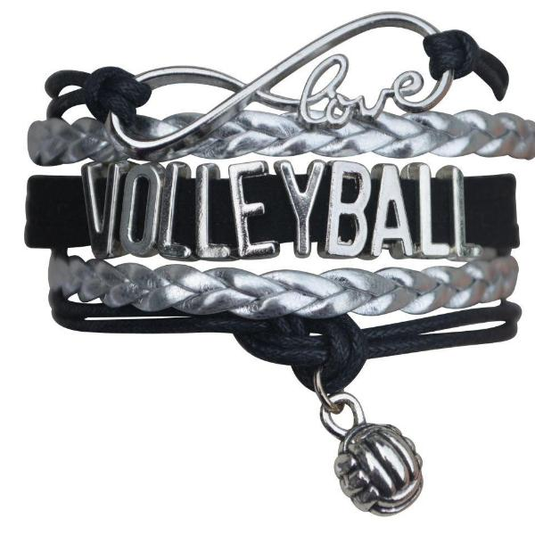 Girls Volleyball Infinity Bracelet- Black - Sportybella