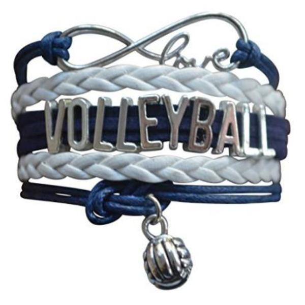Girls Volleyball Infinity Bracelet- Navy - Sportybella