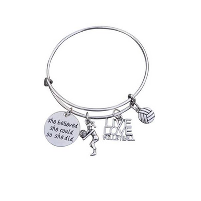 Volleyball She Believed She Could So She Did Bangle Bracelet