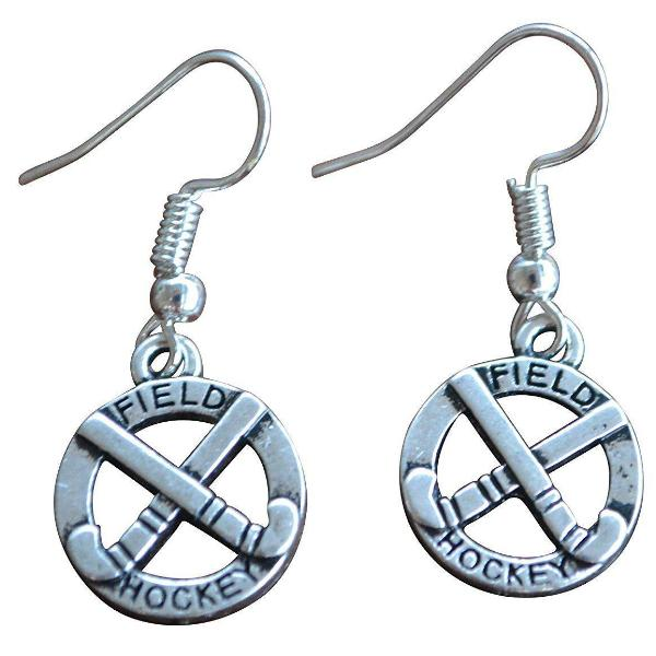 Field Hockey Charm Dangle Earrings - Sportybella