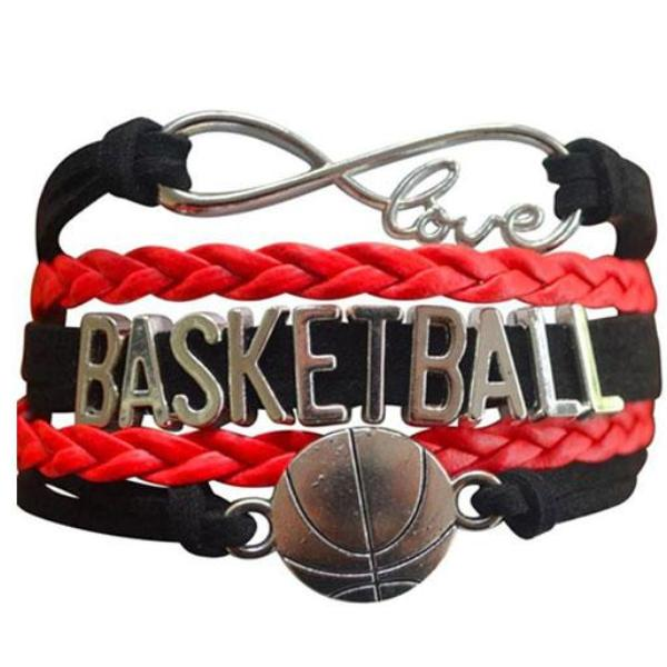 Basketball Infinity Bracelet - Red/Black - Sportybella