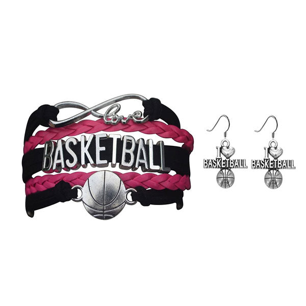 Basketball Jewelry Set ( Bracelet & Earrings) - Sportybella
