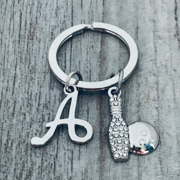 Personalized Bowling Keychain with Initial Charm