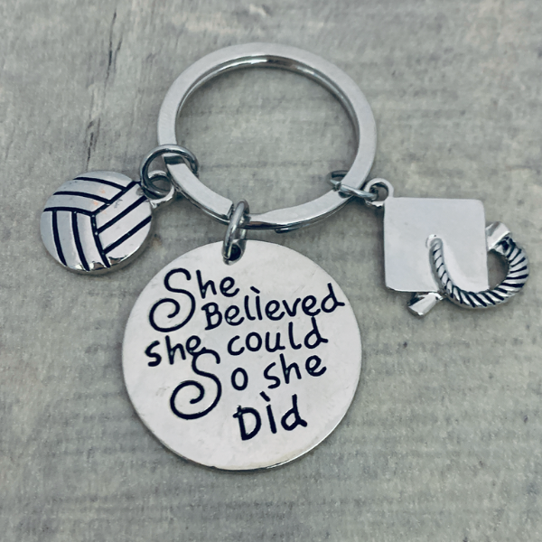 girls volleyball Graduation Keychain - She Believed She Could-