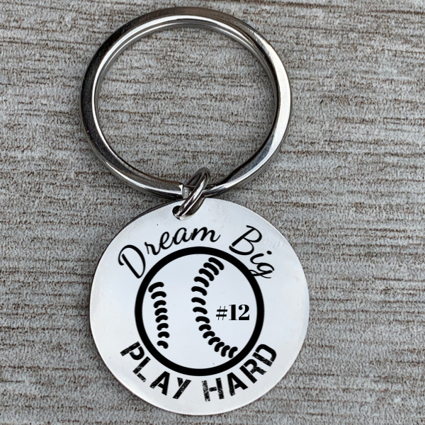 Engraved Baseball Keychain - Dream Big