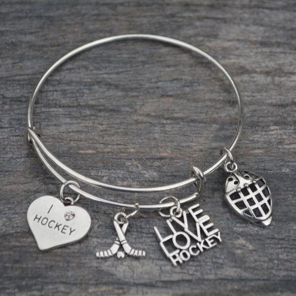 Girls Ice Hockey Goalie Bangle Bracelet - Sportybella