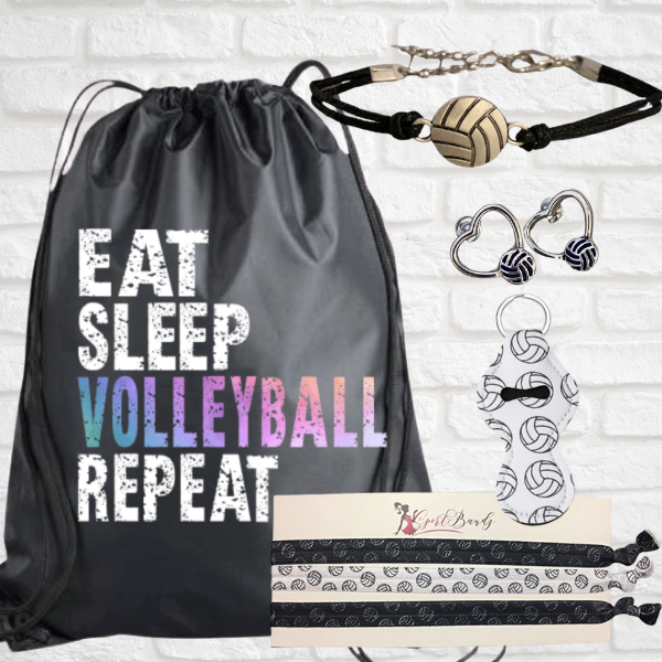 Volleyball Sportybag - Eat Sleep Volleyball Repeat Nylon Drawstring Bag