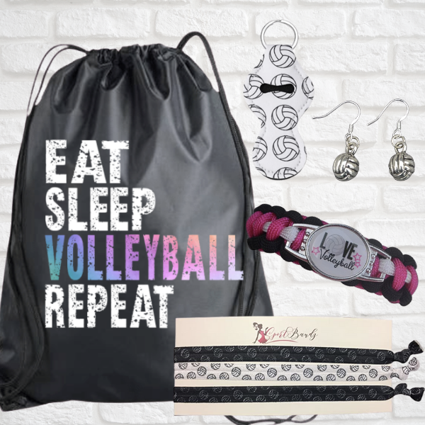 Volleyball Sportybag - Eat Sleep Volleyballl Repeat Nylon Drawstring Bag