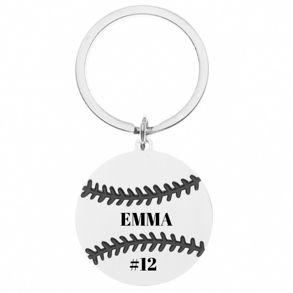 Personalized Engraved Softball Keychain
