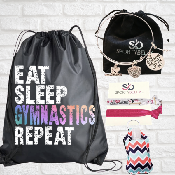 Gymnastics Sportybag - Eat Sleep Gymnastics Repeat Nylon Drawstring Bag- gift bundle