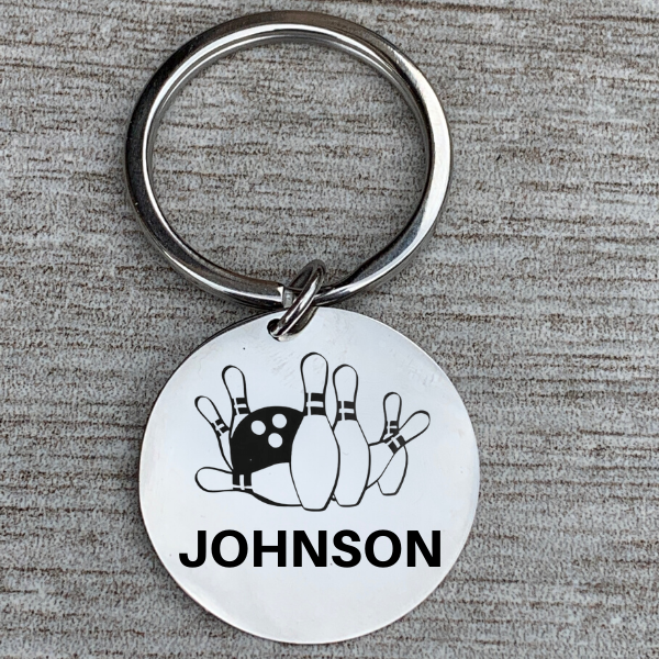 Personalized Engraved Bowling Keychain