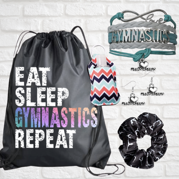 Gymnastics Sportybag - Eat Sleep Gymnastics Repeat Nylon Drawstring Bag gift bundle