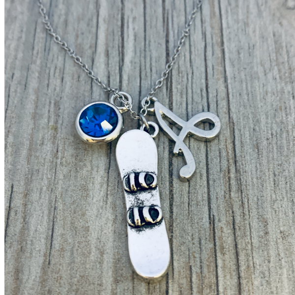 Personalized Snowboarding Charm Necklace