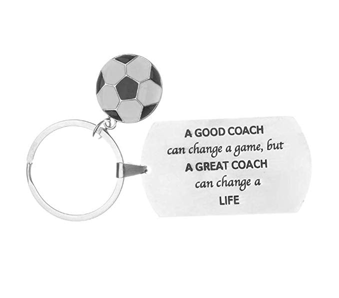Soccer Coach Keychain - A Good Coach Can Change a Game But a Great Coach can Change a Life Keychain