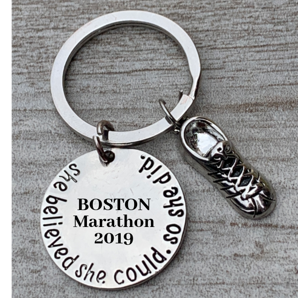 Engraved Marathon Keychain, Runner She Believed She Could So She Did Keychain