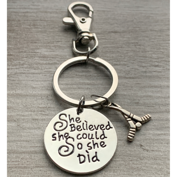 Ice Hockey Keychain - She Believed She Could So She Did Zipper Pull