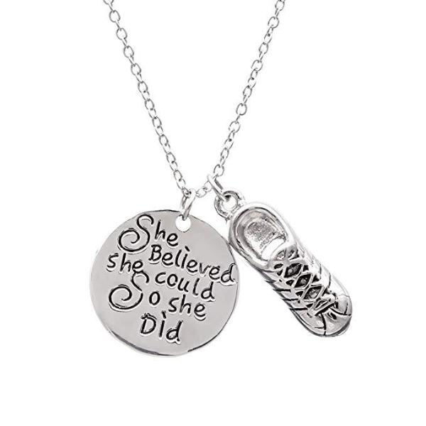 Runner She Believed She Could So She Did Charm Necklace