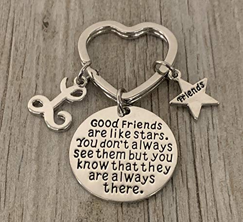 Personalized Best Friends Charm Keychain with Letter Initial- Custom Good Friends are Like Stars Key chain- Friend Jewelry for Women- Perfect Gift for Her - sportybella
