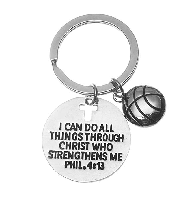 Basketball Christian I Can Do All Things Through Christ Who Strengthen Keychain - Sportybella