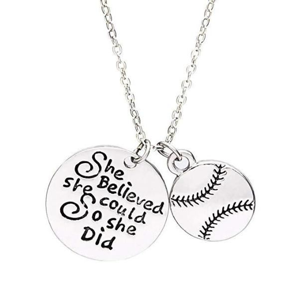 Softball She Believed She Could So She Did Necklace