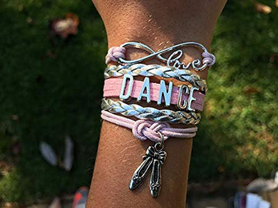 Girls Dance Infinity Ballet Slipper Charm Bracelet