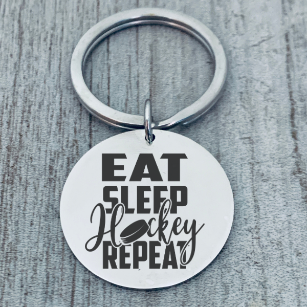 Hockey Keychain - Eat Sleep Hockey Repeat