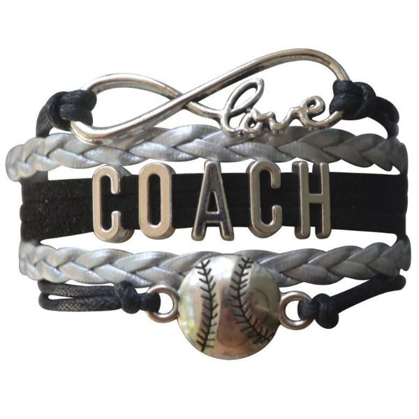Softball Coach Bracelet - Girls - Black Silver - Sportybella