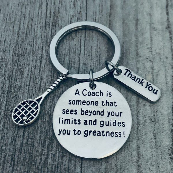 Tennis Coach Keychain - Sees Beyond Your Limits