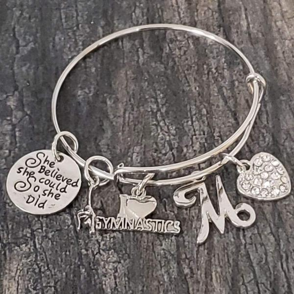 Personalized Gymnastics Bangle Bracelet- Custom Girls Gymnast Jewelry
