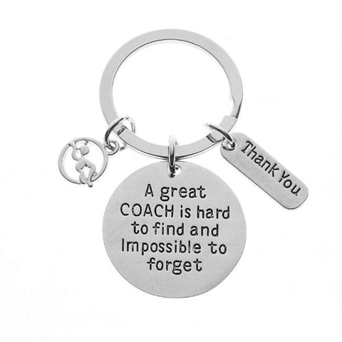Ice Hockey Coach Keychain, Great Coach is Hard to Find Coach Keychain