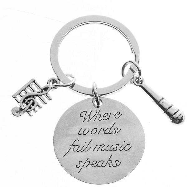 Music Keychain Gift, Treble Clef Jewelry - Singer Microphone Keychain