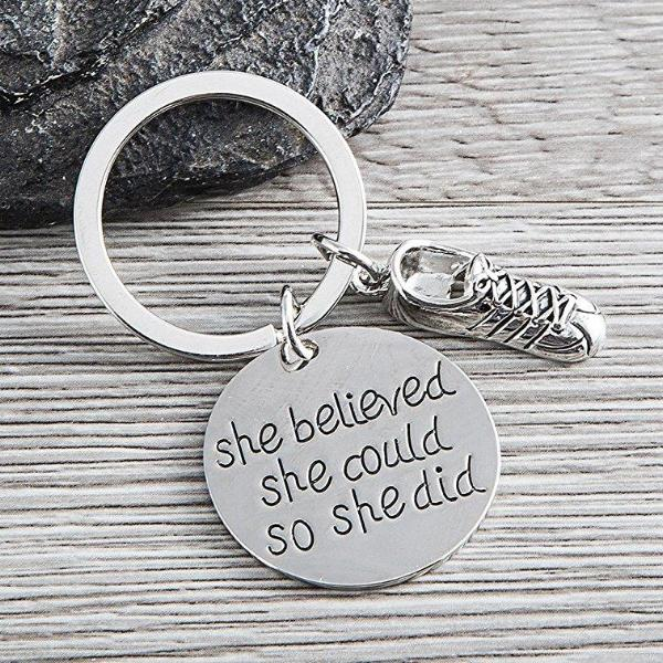 Runner Keychain- She Believed She Could So She Did - Sportybella